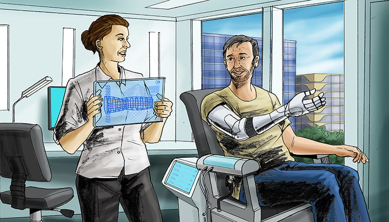 Artists impression of a Cyborg Psychologist consulting with patient